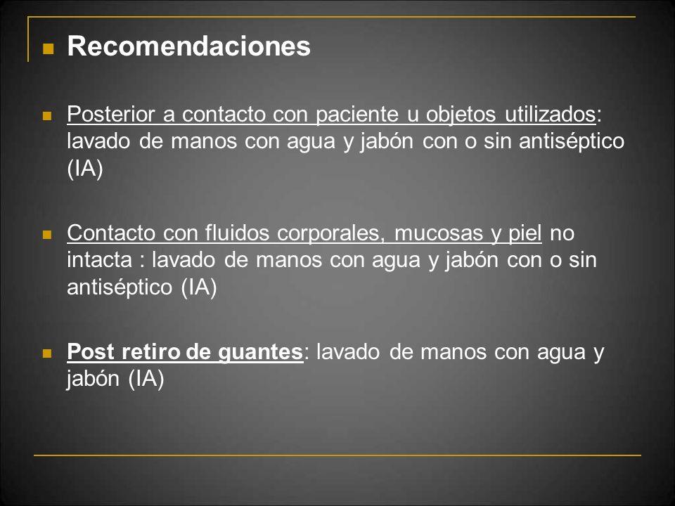 Recomendaciones Posterior a contacto con paciente u objetos utilizados: lavado de manos con agua y jabón con o sin antiséptico (IA)