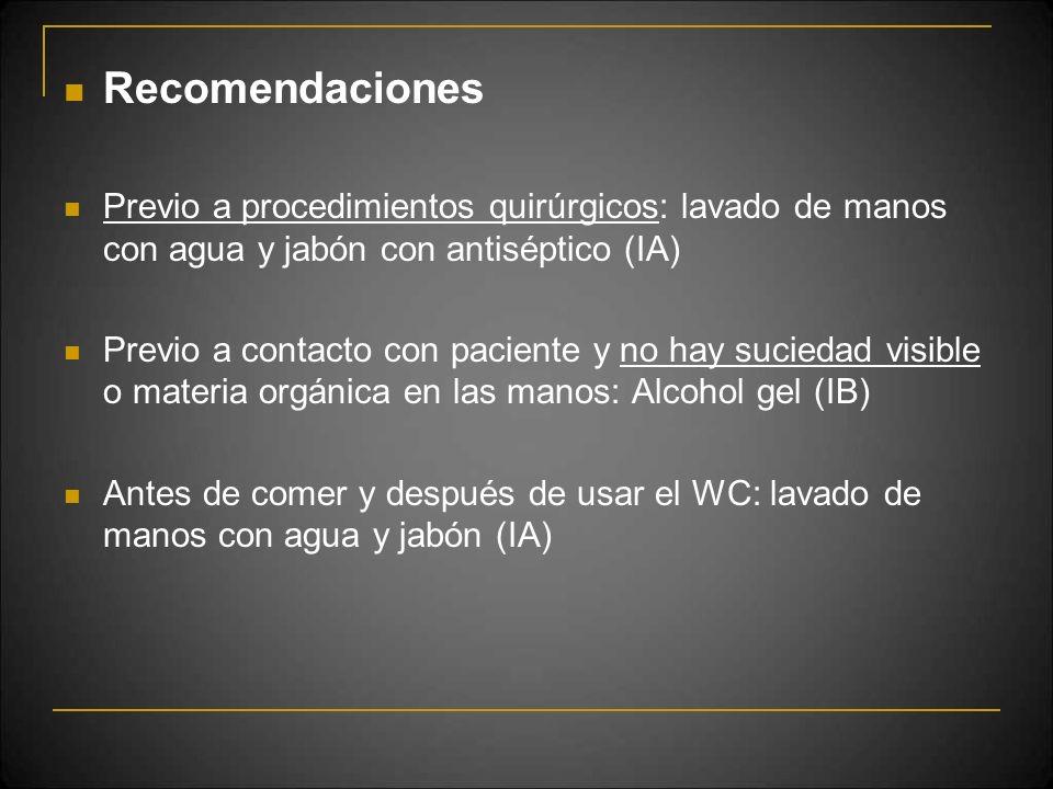 Recomendaciones Previo a procedimientos quirúrgicos: lavado de manos con agua y jabón con antiséptico (IA)