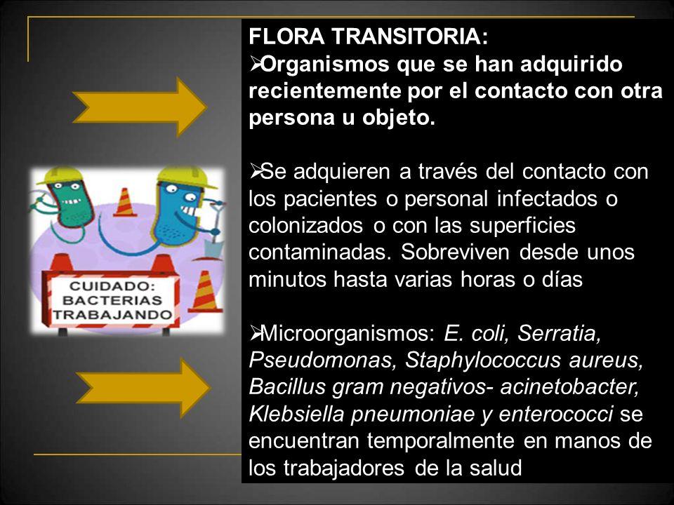 FLORA TRANSITORIA: Organismos que se han adquirido recientemente por el contacto con otra persona u objeto.