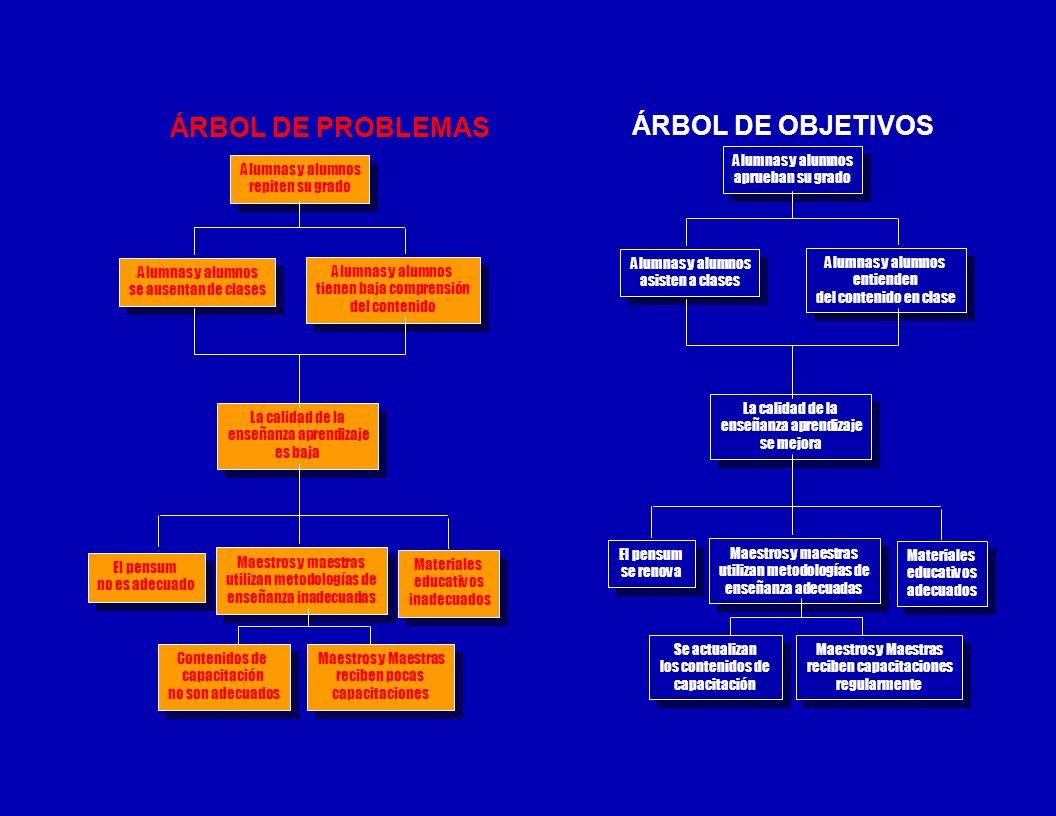 ÁRBOL DE PROBLEMAS ÁRBOL DE OBJETIVOS Alumnas y alumnos