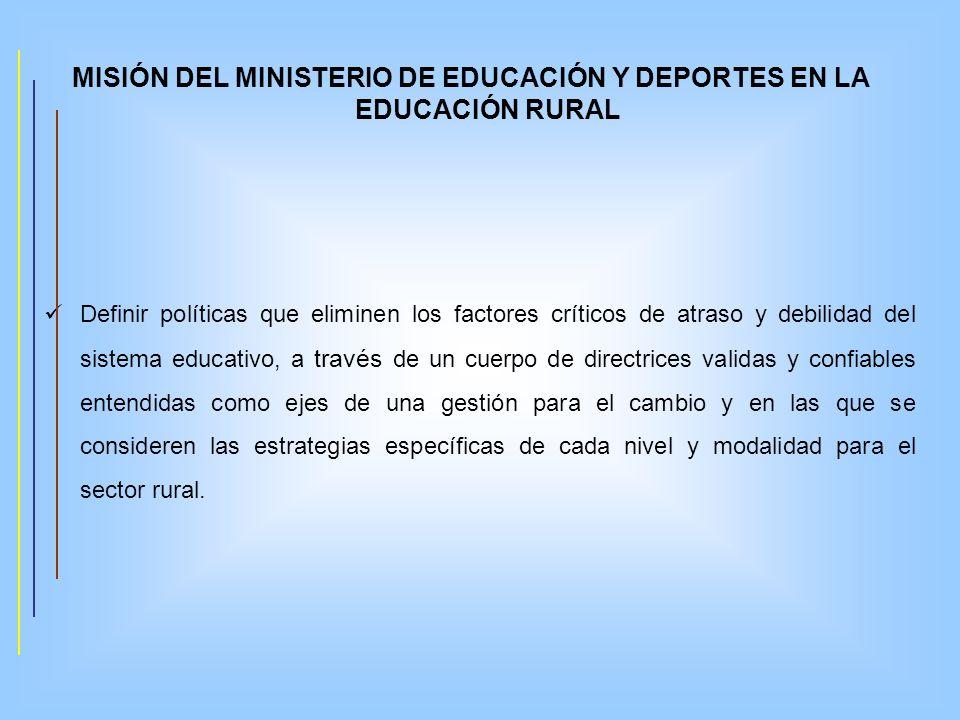 MISIÓN DEL MINISTERIO DE EDUCACIÓN Y DEPORTES EN LA EDUCACIÓN RURAL