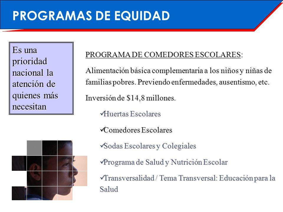 PROGRAMAS DE EQUIDAD Es una prioridad nacional la atención de quienes más necesitan. PROGRAMA DE COMEDORES ESCOLARES: