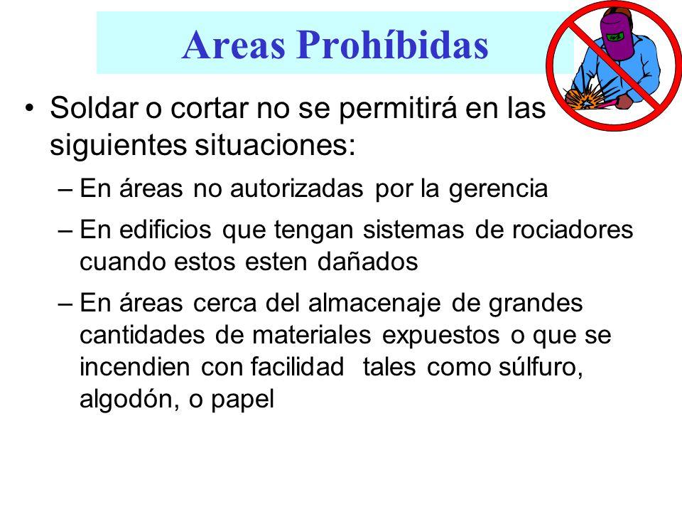Areas Prohíbidas Soldar o cortar no se permitirá en las siguientes situaciones: En áreas no autorizadas por la gerencia.