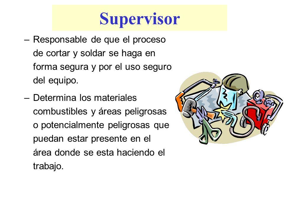 Supervisor Responsable de que el proceso de cortar y soldar se haga en forma segura y por el uso seguro del equipo.