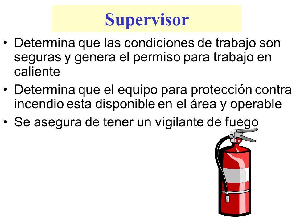 Supervisor Determina que las condiciones de trabajo son seguras y genera el permiso para trabajo en caliente.