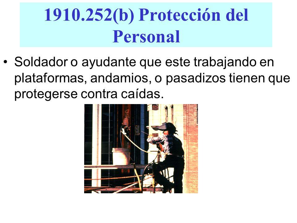 1910.252(b) Protección del Personal