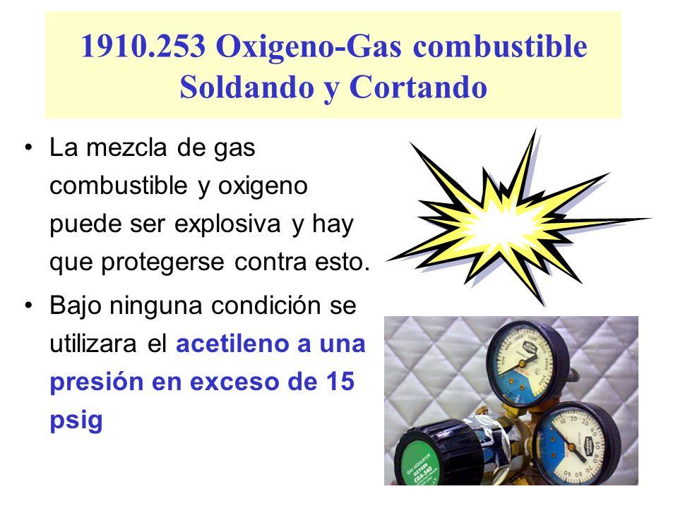 1910.253 Oxigeno-Gas combustible Soldando y Cortando