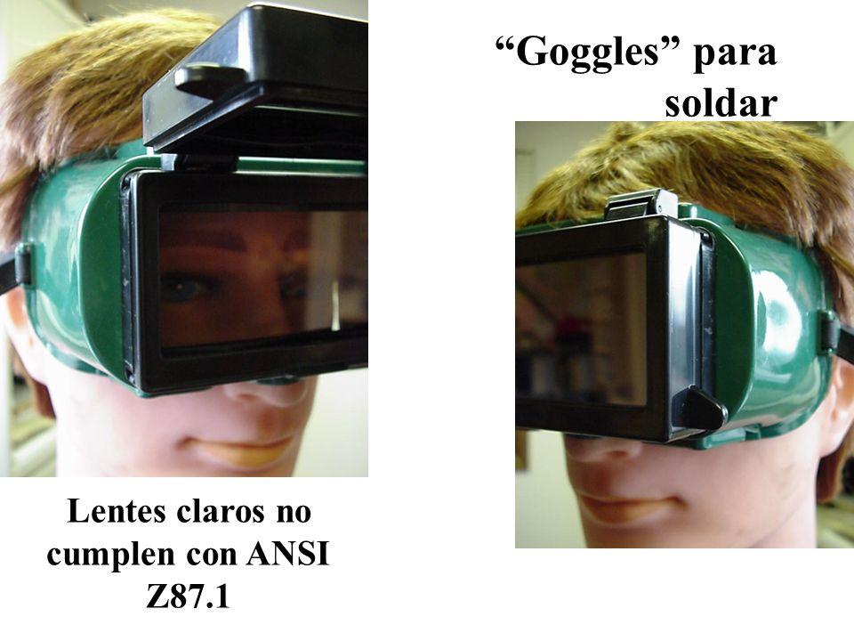 Lentes claros no cumplen con ANSI Z87.1