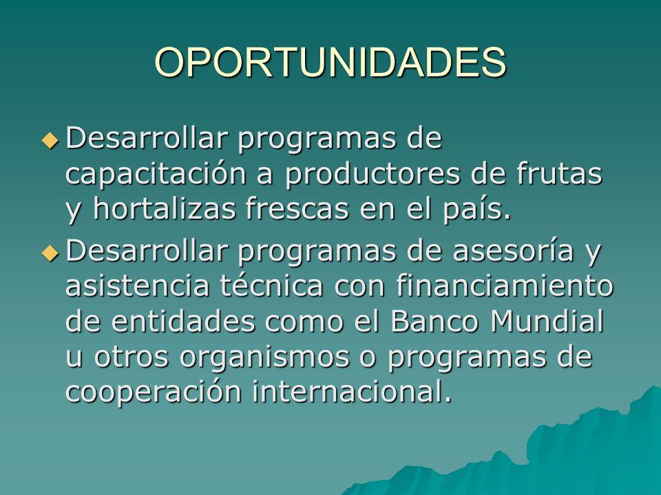 OPORTUNIDADES Desarrollar programas de capacitación a productores de frutas y hortalizas frescas en el país.