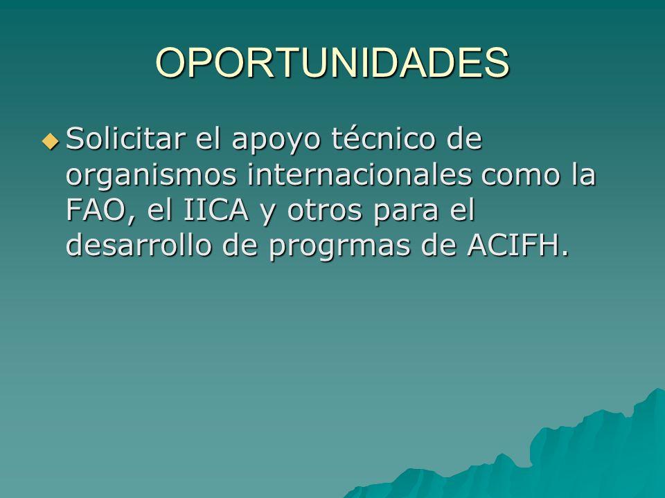 OPORTUNIDADES Solicitar el apoyo técnico de organismos internacionales como la FAO, el IICA y otros para el desarrollo de progrmas de ACIFH.