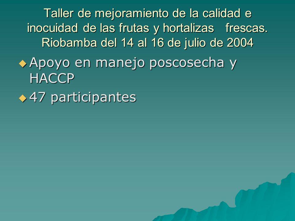 Apoyo en manejo poscosecha y HACCP 47 participantes