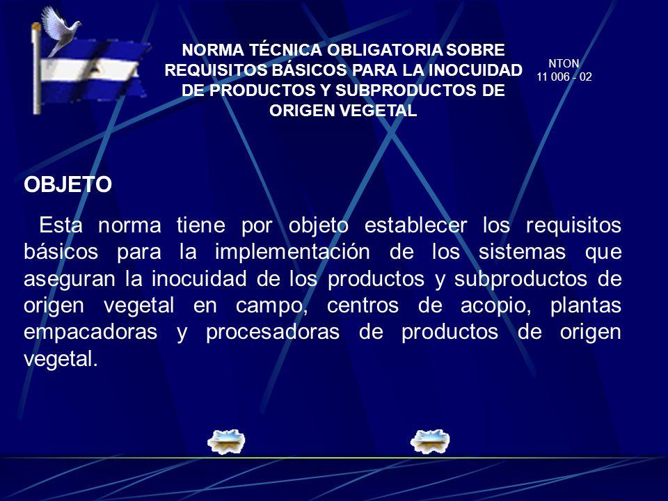 NORMA TÉCNICA OBLIGATORIA SOBRE REQUISITOS BÁSICOS PARA LA INOCUIDAD DE PRODUCTOS Y SUBPRODUCTOS DE ORIGEN VEGETAL