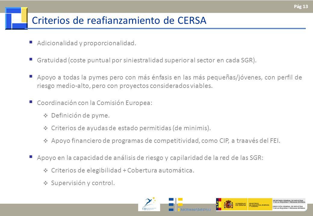 Criterios de reafianzamiento de CERSA