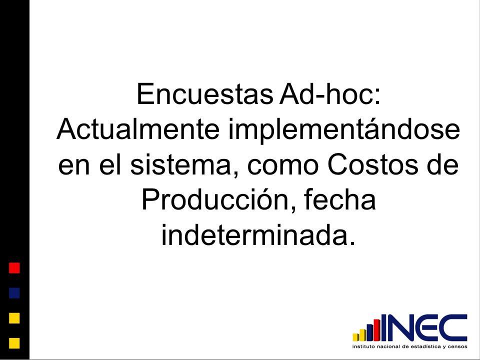 Encuestas Ad-hoc: Actualmente implementándose en el sistema, como Costos de Producción, fecha indeterminada.