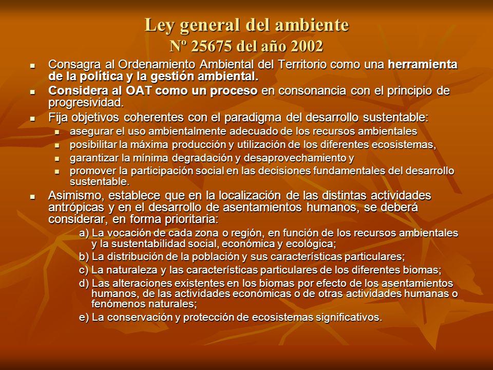 Ley general del ambiente Nº 25675 del año 2002