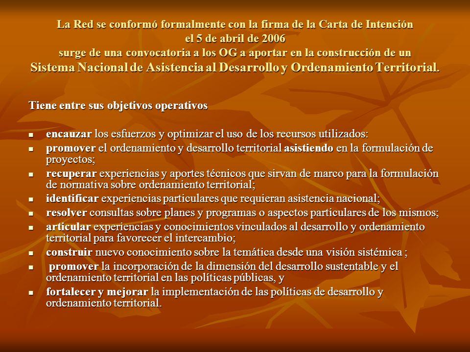 La Red se conformó formalmente con la firma de la Carta de Intención el 5 de abril de 2006 surge de una convocatoria a los OG a aportar en la construcción de un Sistema Nacional de Asistencia al Desarrollo y Ordenamiento Territorial.