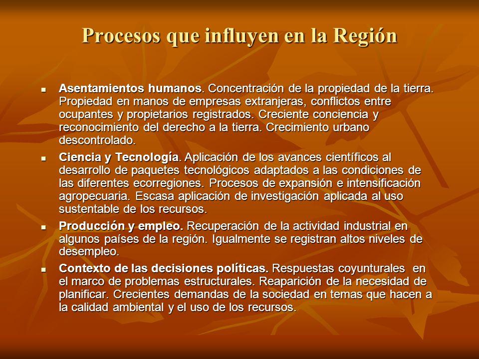 Procesos que influyen en la Región