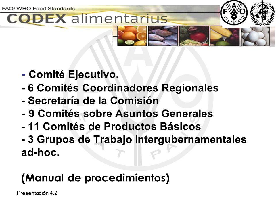 - Comité Ejecutivo. - 6 Comités Coordinadores Regionales - Secretaría de la Comisión - 9 Comités sobre Asuntos Generales - 11 Comités de Productos Básicos - 3 Grupos de Trabajo Intergubernamentales ad-hoc. (Manual de procedimientos)