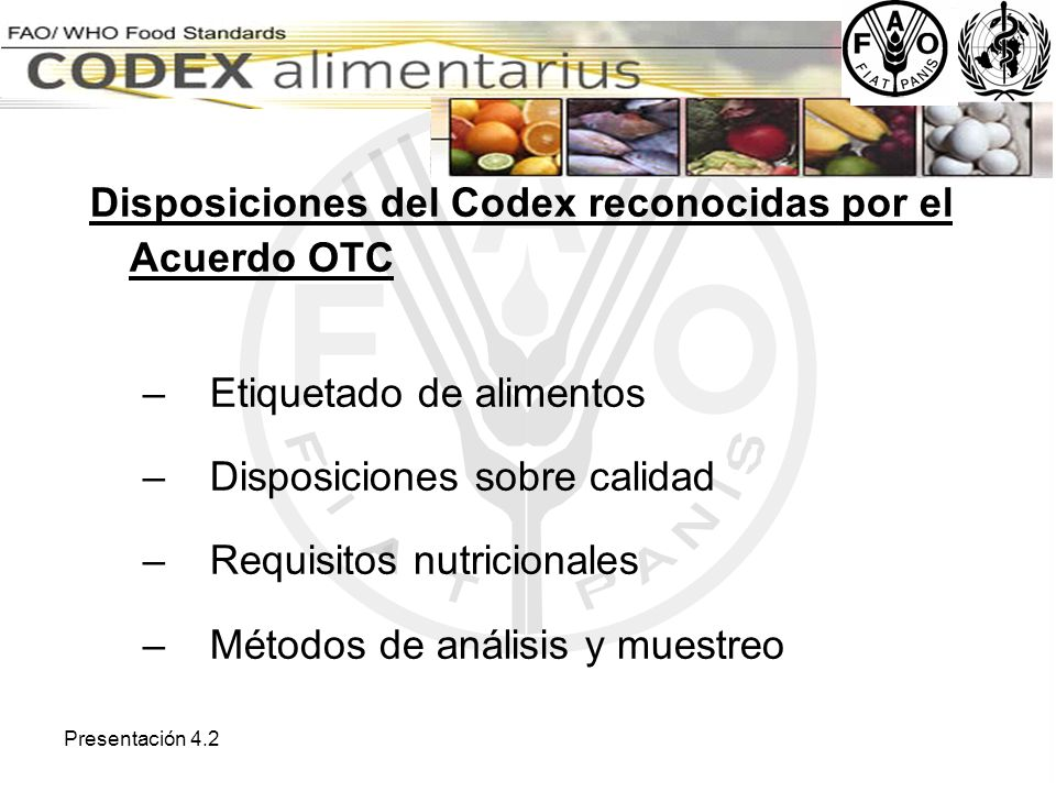 Disposiciones del Codex reconocidas por el Acuerdo OTC