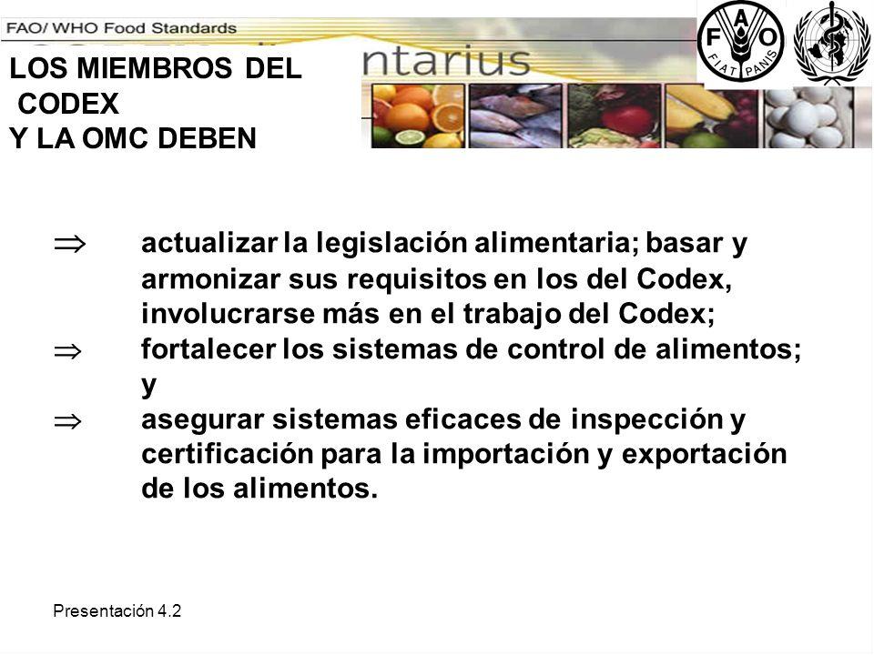 LOS MIEMBROS DEL CODEX. Y LA OMC DEBEN.