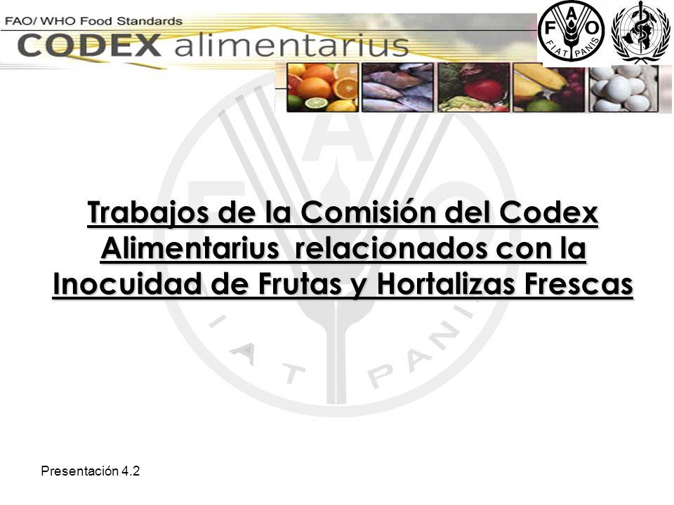 Trabajos de la Comisión del Codex Alimentarius relacionados con la Inocuidad de Frutas y Hortalizas Frescas