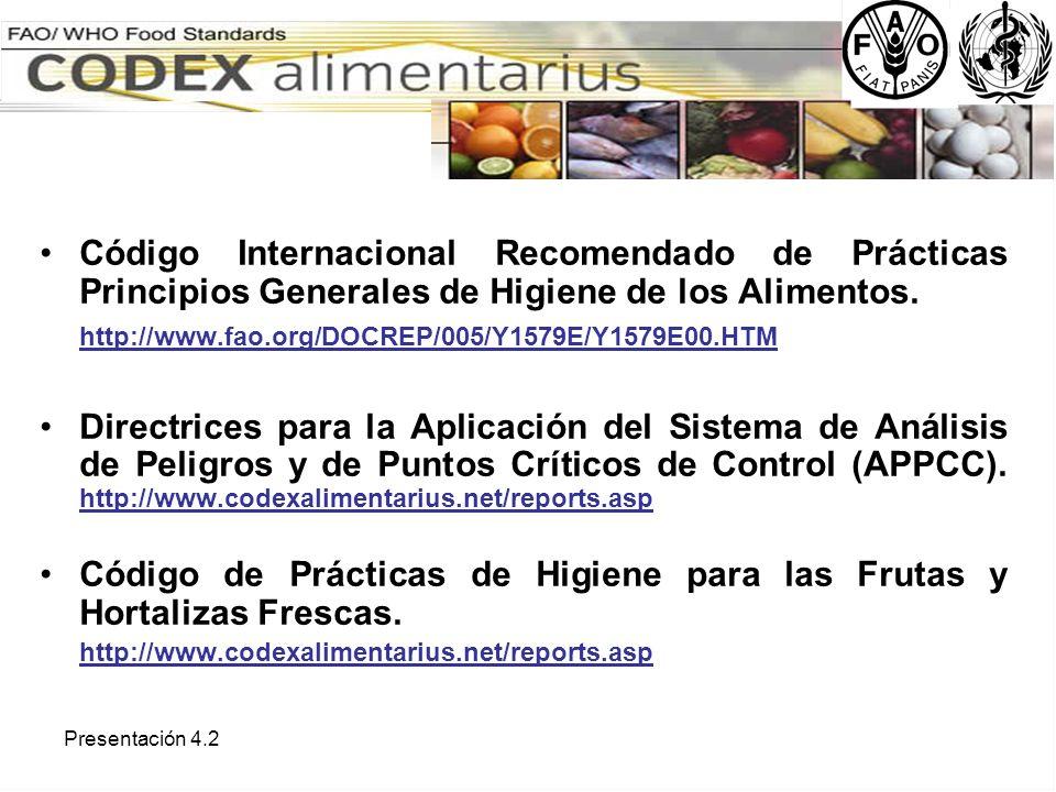 Código de Prácticas de Higiene para las Frutas y Hortalizas Frescas.