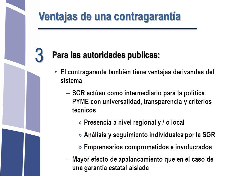 3 Ventajas de una contragarantía Para las autoridades publicas:
