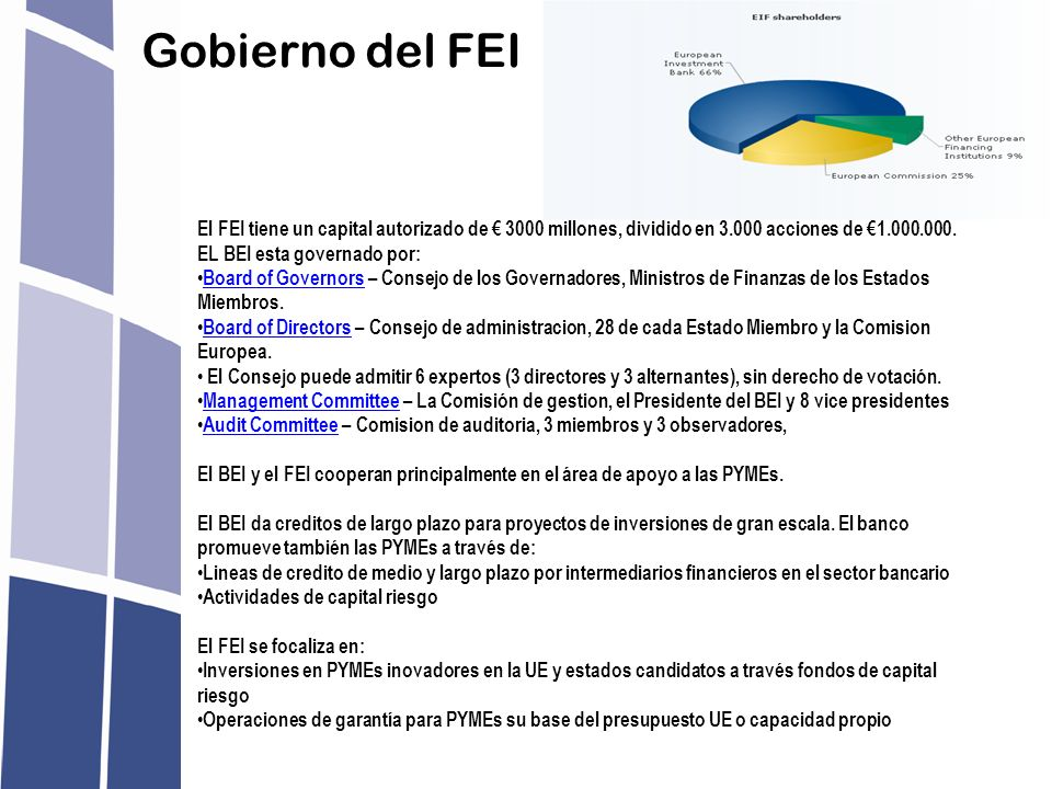 Gobierno del FEI El FEI tiene un capital autorizado de € 3000 millones, dividido en 3.000 acciones de €1.000.000.
