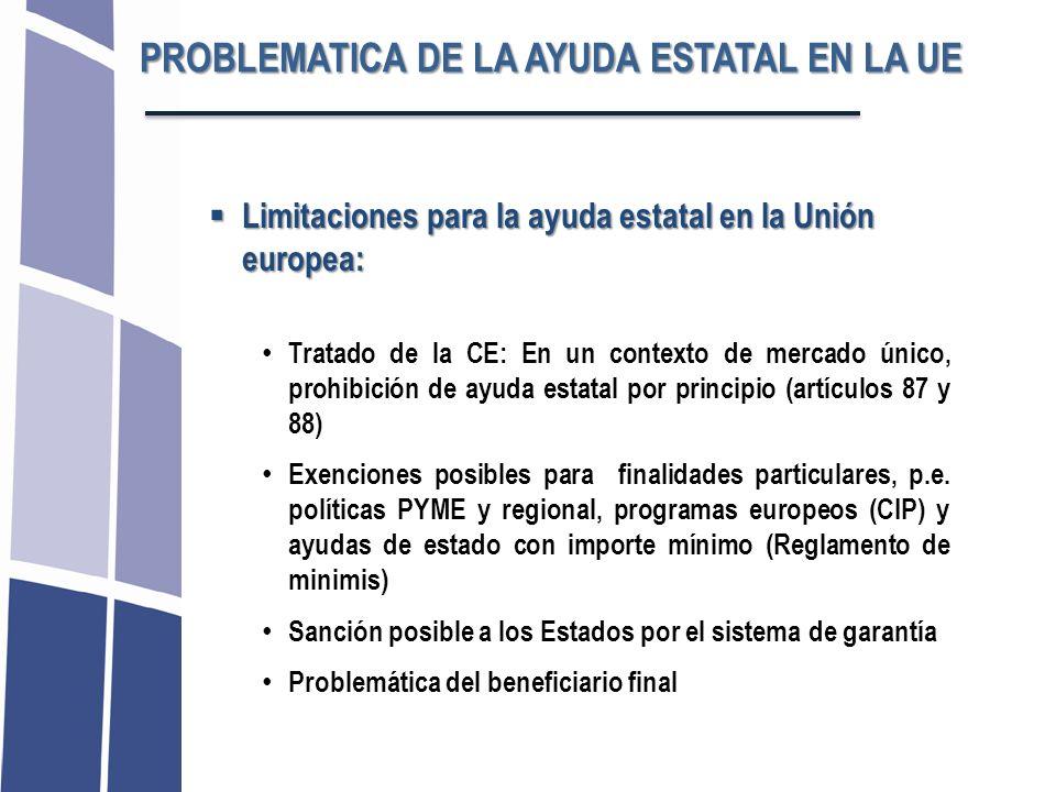 PROBLEMATICA DE LA AYUDA ESTATAL EN LA UE