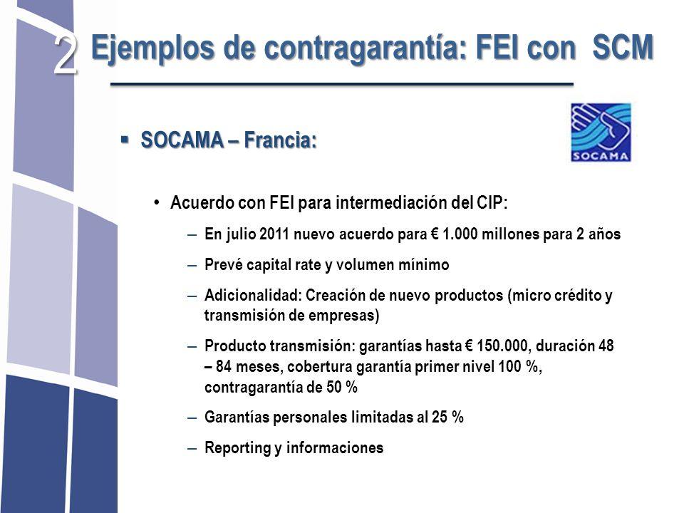 2 Ejemplos de contragarantía: FEI con SCM SOCAMA – Francia: