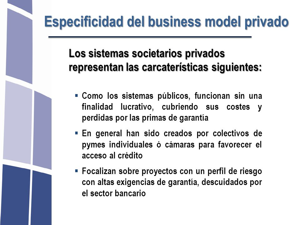 Especificidad del business model privado