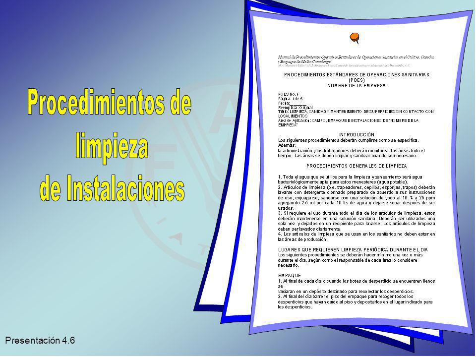 Procedimientos de limpieza de Instalaciones Presentación 4.6