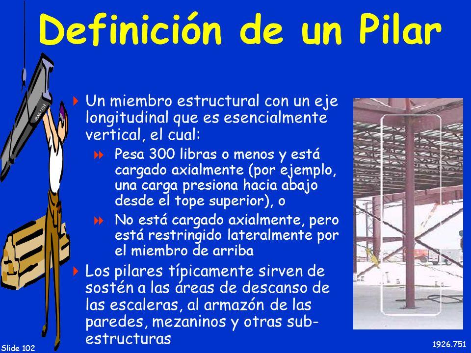 Definición de un Pilar Un miembro estructural con un eje longitudinal que es esencialmente vertical, el cual: