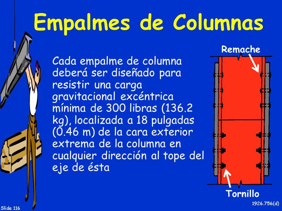 Empalmes de Columnas Remache.