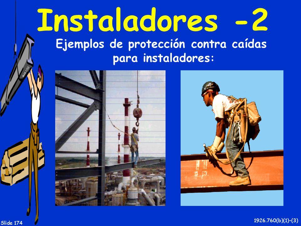 Ejemplos de protección contra caídas