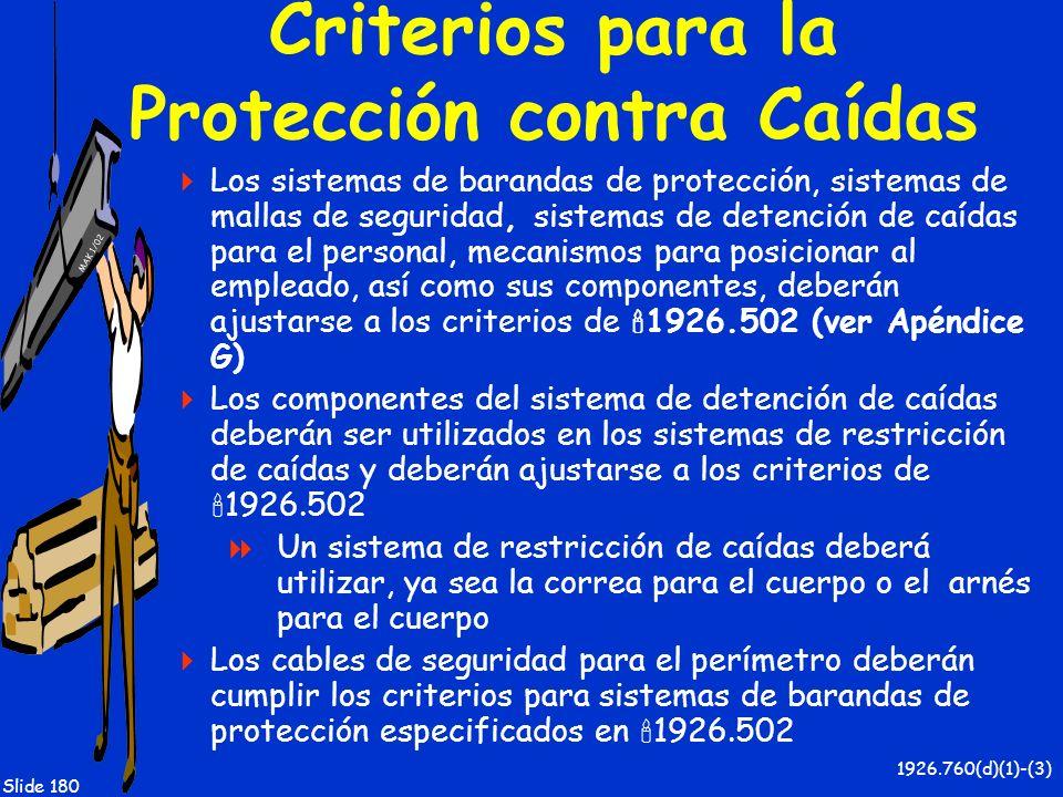Criterios para la Protección contra Caídas