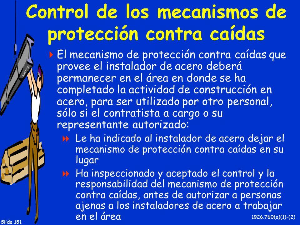 Control de los mecanismos de protección contra caídas