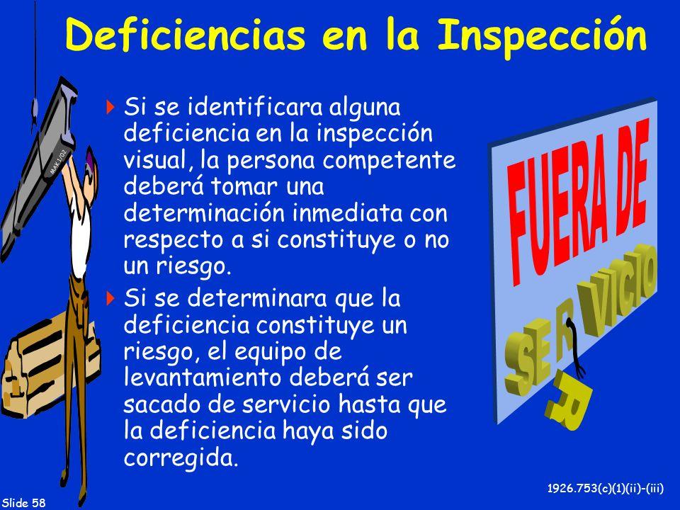 Deficiencias en la Inspección