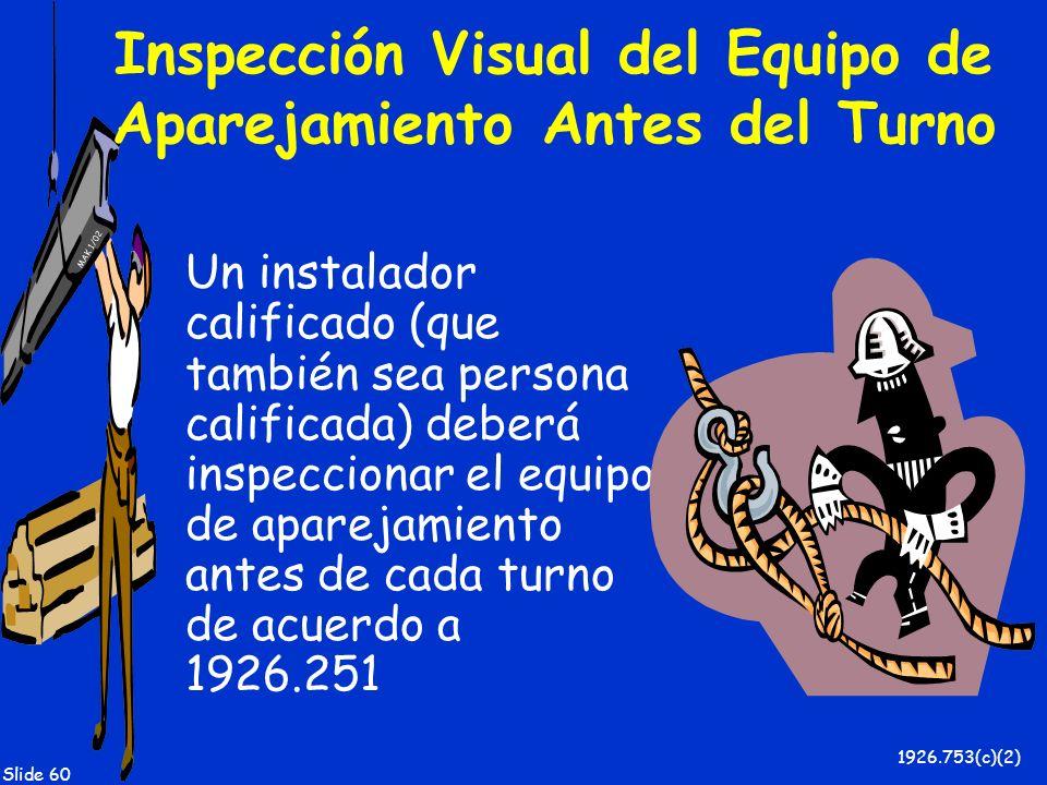 Inspección Visual del Equipo de Aparejamiento Antes del Turno