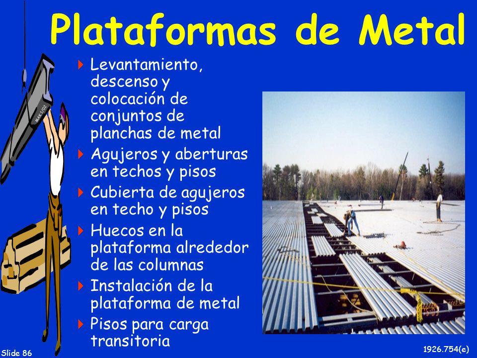Plataformas de Metal Levantamiento, descenso y colocación de conjuntos de planchas de metal. Agujeros y aberturas en techos y pisos.