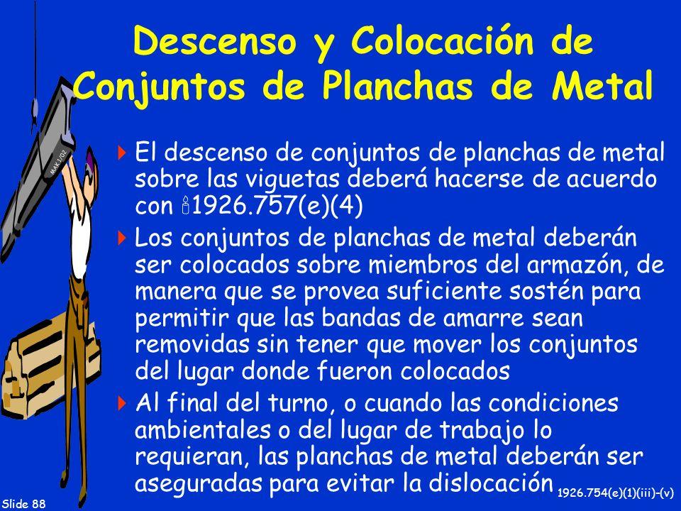 Descenso y Colocación de Conjuntos de Planchas de Metal