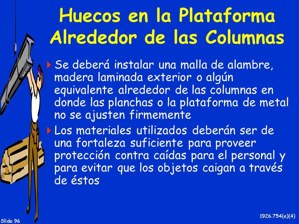 Huecos en la Plataforma Alrededor de las Columnas