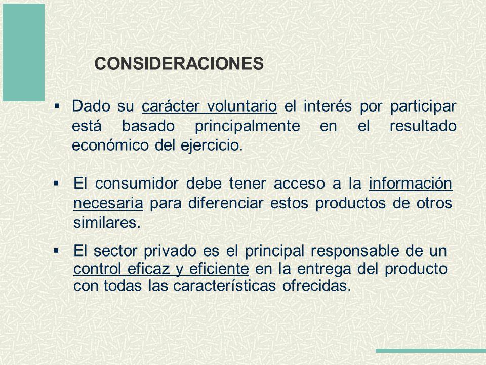 CONSIDERACIONES Dado su carácter voluntario el interés por participar está basado principalmente en el resultado económico del ejercicio.