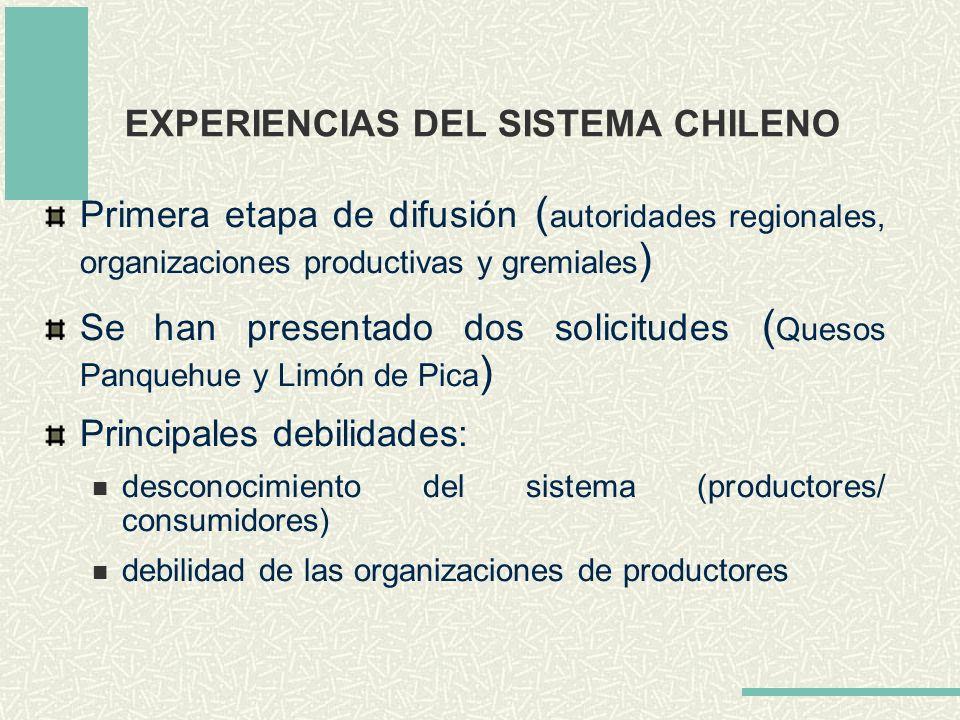 EXPERIENCIAS DEL SISTEMA CHILENO