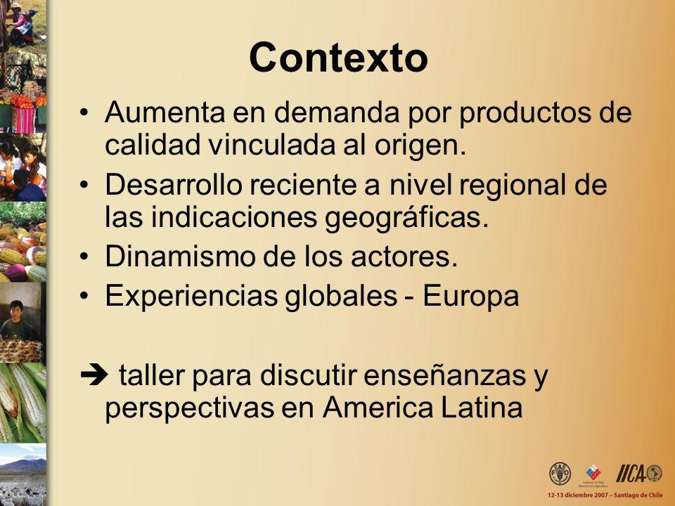 Contexto Aumenta en demanda por productos de calidad vinculada al origen. Desarrollo reciente a nivel regional de las indicaciones geográficas.