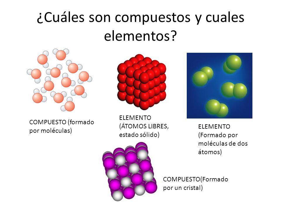 Resultat d'imatges de elementos y compuestos