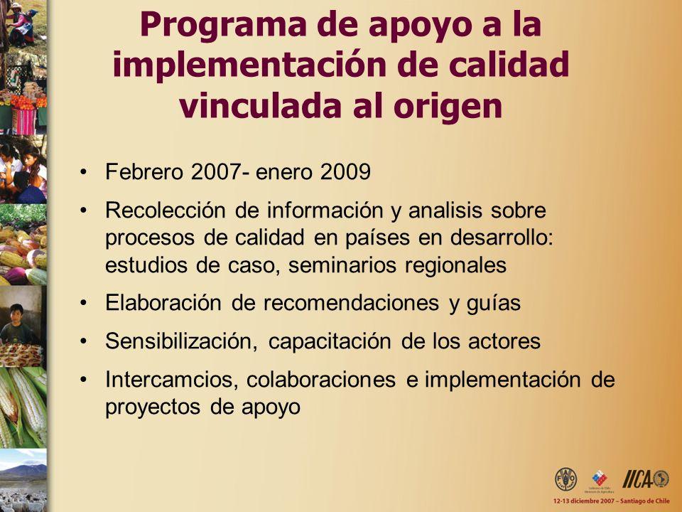 Programa de apoyo a la implementación de calidad vinculada al origen