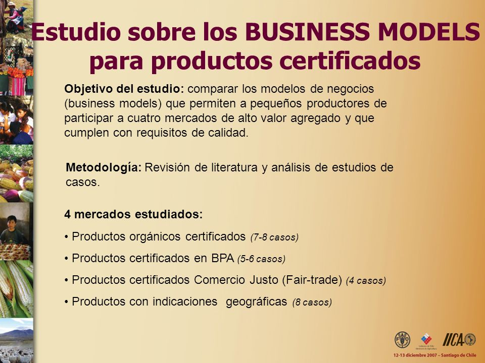 Estudio sobre los BUSINESS MODELS para productos certificados