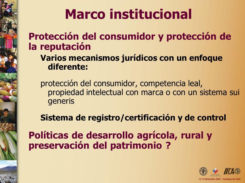 Marco institucional Protección del consumidor y protección de la reputación. Varios mecanismos jurídicos con un enfoque diferente: