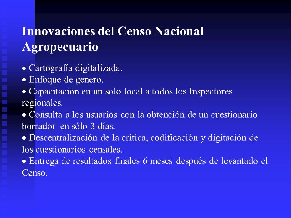 Innovaciones del Censo Nacional Agropecuario